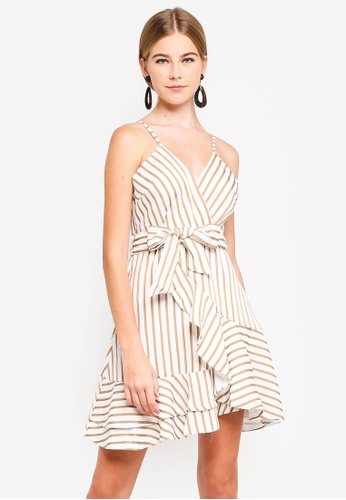 INDIKAH brown Tie Front Surplice Ruffle Hem Dress 6425DAA272307AGS_1