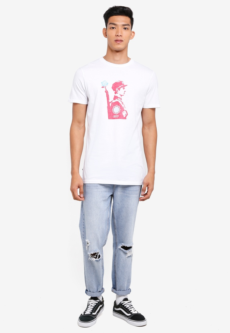 Tee OBEY Soldier Obey Stencil White Rose tPpBqxwIqT