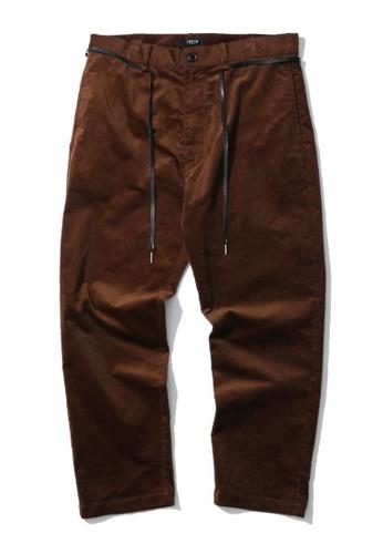 Fivecm brown Shoelace belt corduroy pants B9374AAE938DDDGS_1