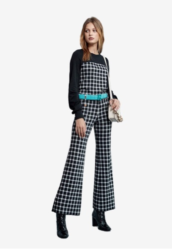 iROO multi Fitted Checkered Pants 435C5AA64FB707GS_1