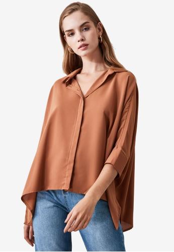 Trendyol brown Asymmetrical Oversized Shirt 49452AA7FB25F4GS_1