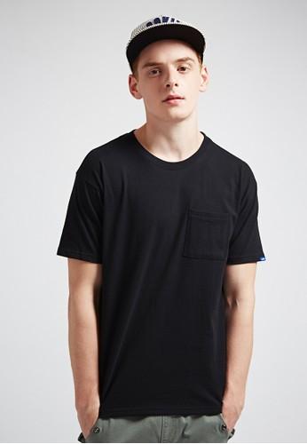 街頭esprit tsim sha tsui寬版。高磅380克。口袋圓領T-MIT-03609-黑色, 服飾, 素色T恤
