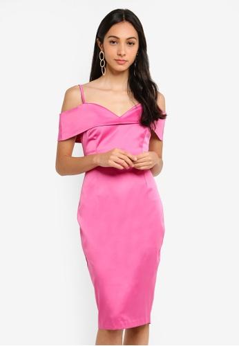 Vesper pink Billie Satin Midi Dress 7CF28AA3AA1E73GS_1