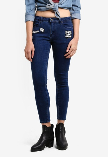 Something Borrowed blue Patch Skinny Jeans 3791CZZ8CCD301GS_1