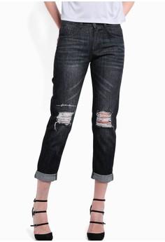 【ZALORA】 膝蓋刷破七分牛仔褲
