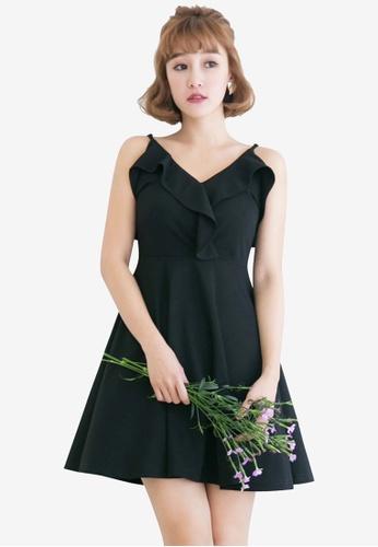 Tokichoi black Spaghetti Strap Flounce Dress BDECDAA1A62439GS_1