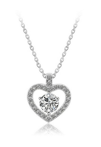 Vivere Rosse silver Pure Love Heart Shaped Diamond Simulant Necklace VI014AC60RBFMY_1