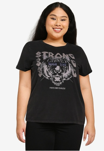 Only CARMAKOMA black Plus Size Emily Short Sleeves Regular Tee 523A2AAFB7D88BGS_1