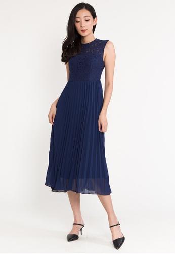 BEBEBEIGE blue BebeBeige Round Neck Sleeveless Flare Midi Evening Dinner Dress 68F4FAAA65234BGS_1