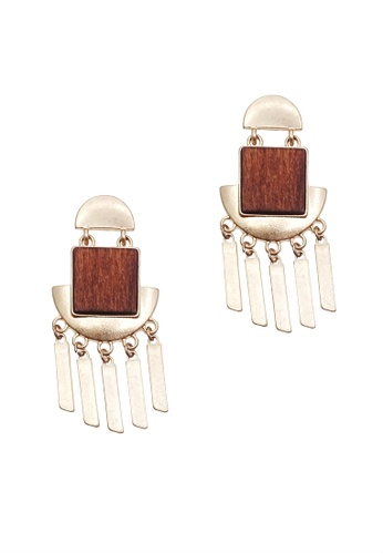 LUCCACAL gold and brown Luna Wooden Earrings 54DBDAC9DE04B7GS_1