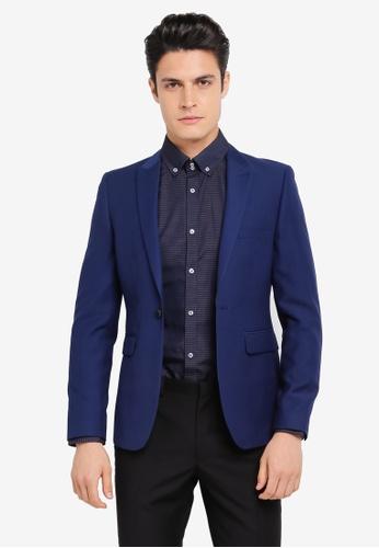 Burton Menswear London blue Skinny Indigo Essential Suit Jacket BU964AA0SR8JMY_1