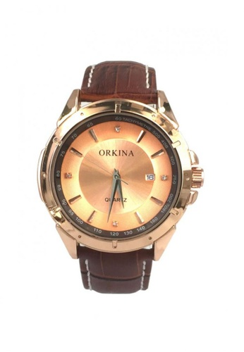 Chronomart brown and gold Orkina Men's Leather Strap Watch F74A7ACA1D5D96GS_1