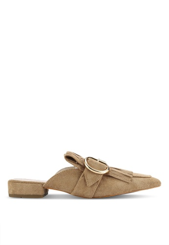 addicts anonymous beige Kabira Buckle Fringe Mule Flats AD479SH87HLWMY_1