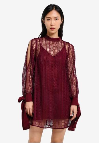River Island red Lace Swing Dress RI009AA0S9TFMY_1