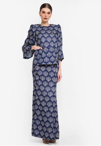 Rizalman for Zalora white and blue Kedah Pocket Kurung RI909AA0SF1GMY_1