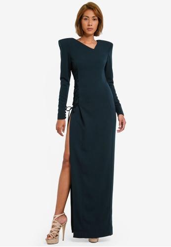 AfiqM green The Long Sleeve Padded Dress AF546AA0S2LWMY_1