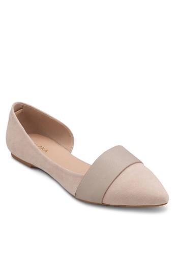 側鏤空尖頭平底鞋, 女鞋,esprit台灣官網 鞋