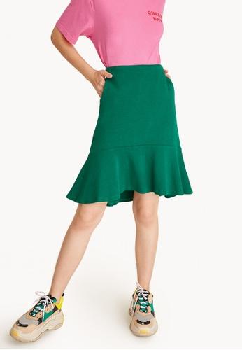 Pomelo green Flounced High Waisted Skirt - Green 9EB89AA9357101GS_1