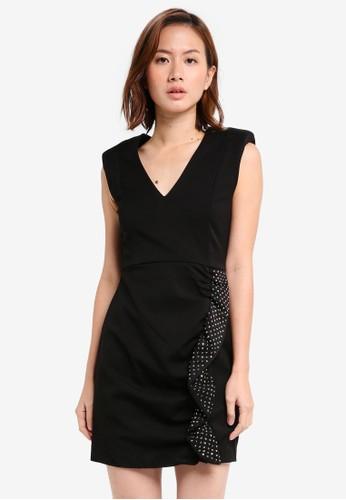 MANGO black Strass Ruffled Dress MA193AA0T0XQMY_1