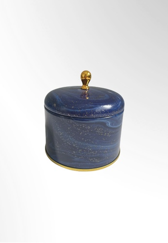 Ayra Home & Living blue Midnight Blue Floral Metal Tin Accessories Holder E0649HL73577B9GS_1
