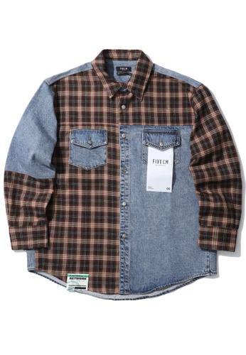 Fivecm navy Panelled plaid denim shirt F6E03AA5E7DD4BGS_1