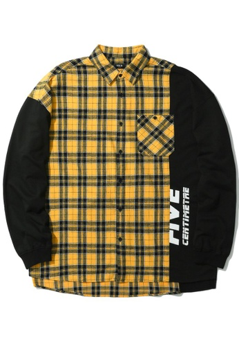 Fivecm yellow Logo panelled plaid shirt 9FE43AA3105946GS_1
