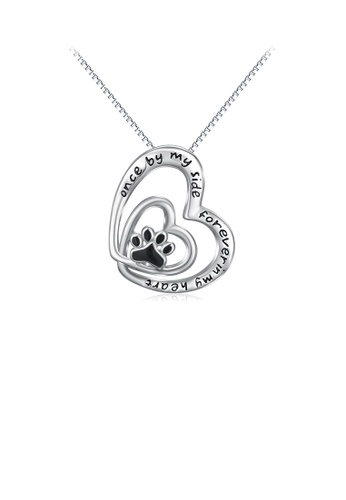Glamorousky silver 925 Sterling Silver Fashion Temperament Dog Paw Print Heart Pendant with Necklace C96B3ACBFA211BGS_1
