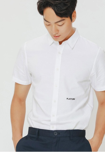 H:CONNECT white Letter Embroidered Shirt A6C18AA23DD330GS_1