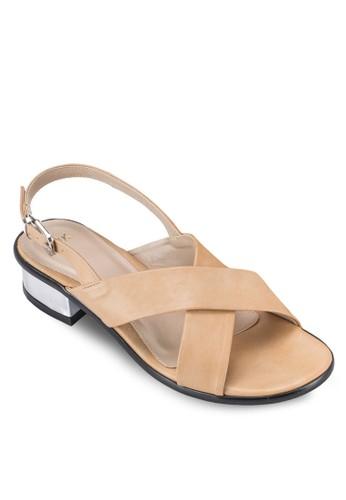 交叉寬帶繞zalora開箱踝中低跟涼鞋, 女鞋, 鞋