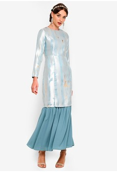 Zalia blue and gold Abstract Jacquard Slim Tunic Set ACFA7AAA5A4698GS_1