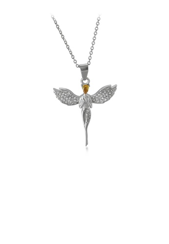 Glamorousky white Fashion and Elegant Angel 316L Stainless Steel Pendant with Cubic Zirconia and Necklace 7005EACE632500GS_1