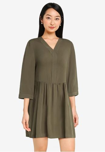 ZALORA BASICS green Oversized Babydoll Dress 9AA1EAAC6DB692GS_1