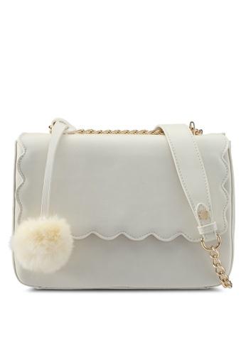 Velvet white Scallop Front Shoulder Bag B0CA0ZZD4E5342GS_1