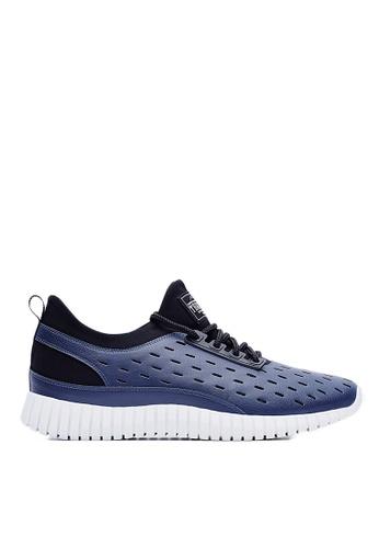 Life8 藍色 MIT。夜發光。牛紋面料。3D彈簧運動鞋(附發光鞋帶)-09381-藍色 LI216SH45ANUTW_1