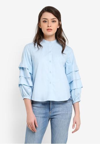 Zalia blue Tiered Sleeve Crop Shirt 73C7AAA428DE6EGS_1