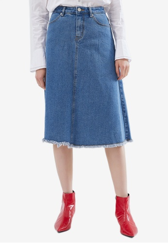 Hopeshow blue Denim Midi Skirt EF04BAAA86EAA7GS_1