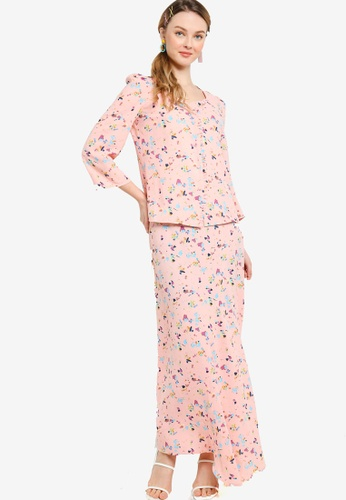 Lubna 粉紅色 Square Neck Front Button Kurung 5403FAAE4A3968GS_1