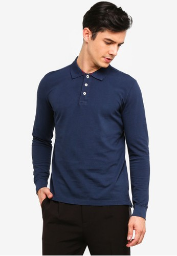 OVS navy Long Sleeve Polo Shirt 73957AAC41DDC4GS_1