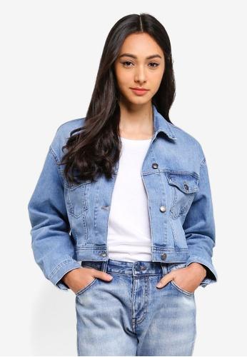 Sisley blue Cropped Denim Jacket. 45ABFAA90C7E77GS_1