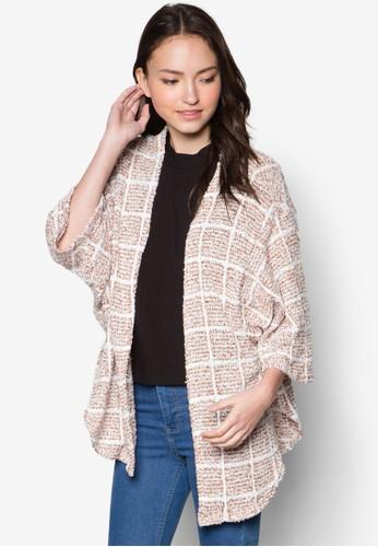 寬esprit專櫃版格紋開襟外套, 服飾, 外套