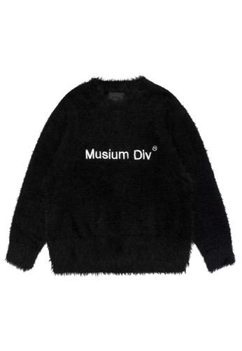 MUSIUM DIV black Moniker embroidered fuzzy sweater 1D23EAAEBFE236GS_1
