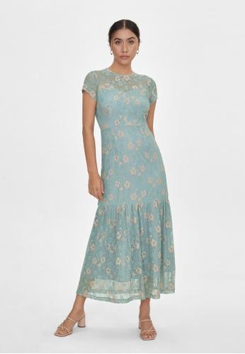 Pomelo blue Maxi Floral Frill Hem Dress - Blue F9433AA5BDE1DDGS_1
