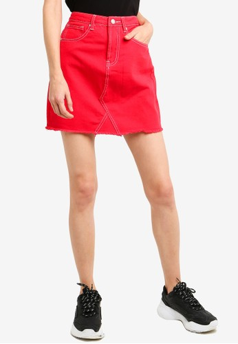 Brave Soul red A Line Skirt With Contrasting Stitching 0AFD1AA276BB78GS_1