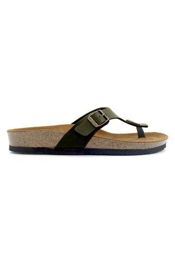 SoleSimple green Rome - Khaki Leather Sandals & Flip Flops B789DSHCAFC4F8GS_1