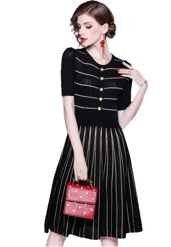 Sunnydaysweety black Black Knit Striped One Piece Dress K20050501 53CAFAA4C51F61GS_1