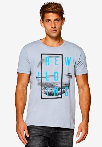 ESPRIT 灰色 短袖印花T恤 91AD1AAC13C1C4GS_1