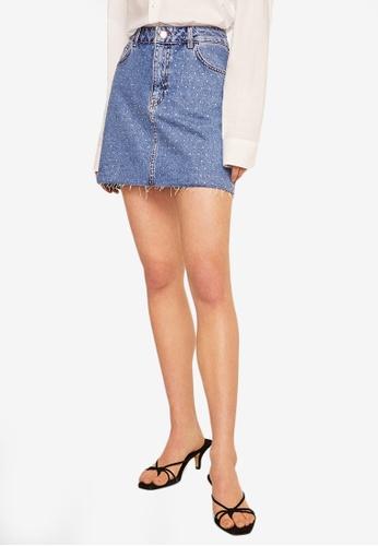 Mango 藍色 珠飾牛仔短裙 C2E30AA3B6E1C5GS_1