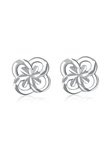 MaBelle silver 14K White Gold Floral Stud Earrings MA584AC36IGDHK_1