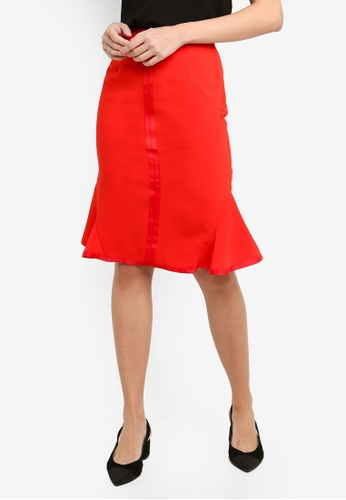 FORCAST red Sharnie Fluted Skirt 0E8DFAAB857141GS_1