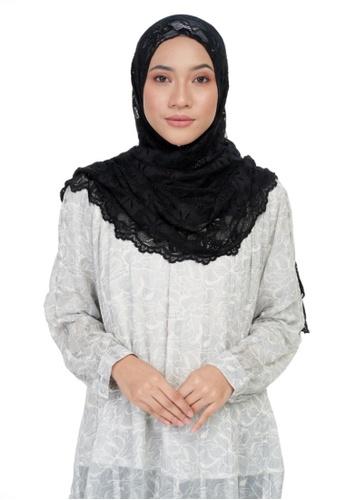 KASHKHA black Jersey lace shawl-BLACK AEF1EAADA20185GS_1